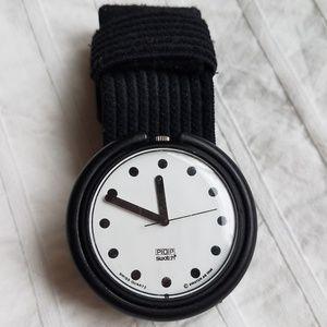 Retro POP SWATCH 1988 BB101 Jet Black Watch AS IS